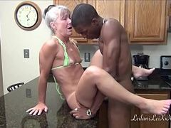 Bikini, Facial, Hot MILF, Interracial, Mom Kitchen Porn, Girl With Long Hair, milf Mom, Tan Lines, Hot Milf Fucked