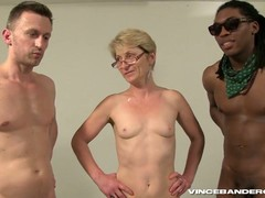 gangbanged, Gilf Threesome, grandma, Granny In Gangbang, Short Hair Teen