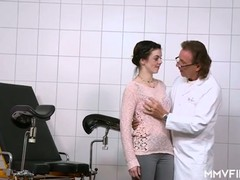 Brunette, fucks, Doctor Examination, Nerdy Girl, Perfect Booty, Pussy, Wet, Real Wet Orgasm